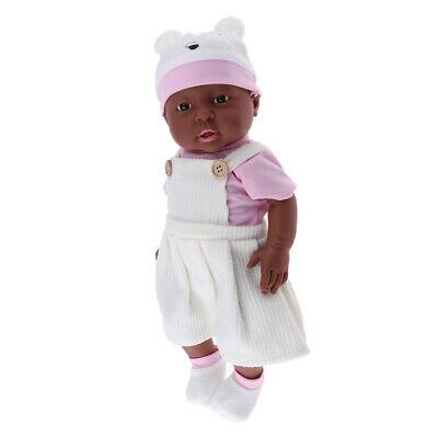 "Puppen Obedient Full Vinyl 16 ""reborn Afroamerikaner Baby Mädchen Puppe Kinderbekleidung"