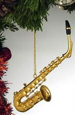 """Realistic Gold Saxophone Christmas Ornament - 5"""" Tall by Broadway Gifts - NWT"""