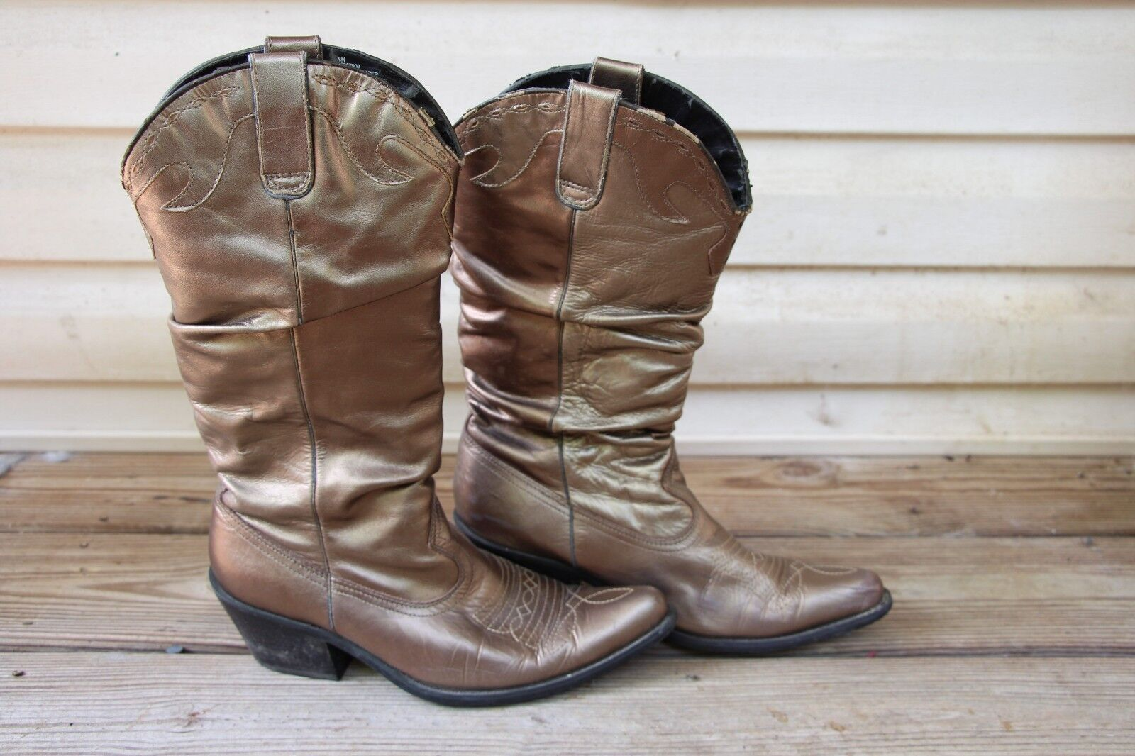 Bronze   gold leather slouch cowboy boots western women's size 8 good condition