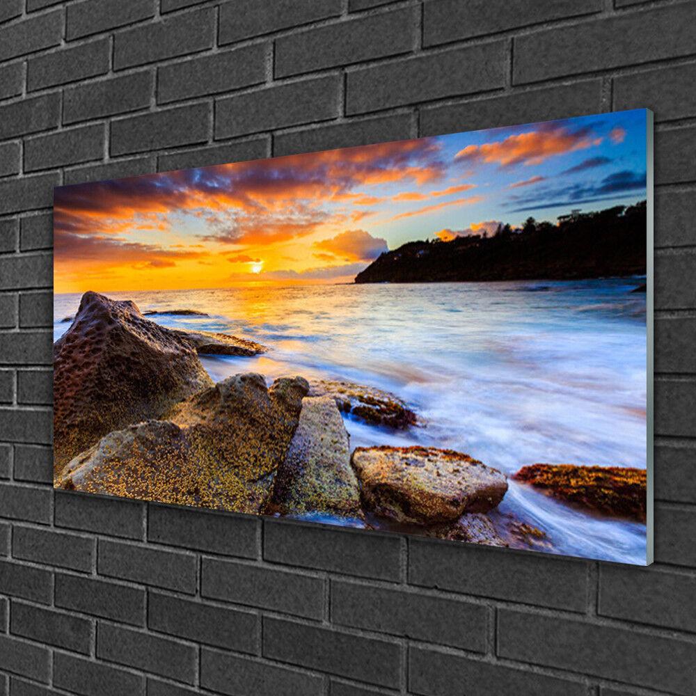 Tableau sur verre Image Impression 100x50 Paysage Pierres Mer Soleil
