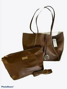 BCBG 2-Piece Reversible Chain Tote & Crossbody Set Brown/Off White Faux Leather