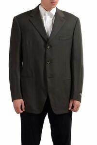 Gianfranco-Ferre-100-Wool-Olive-Green-Three-Buttons-Men-039-s-Blazer-US-44-IT-54