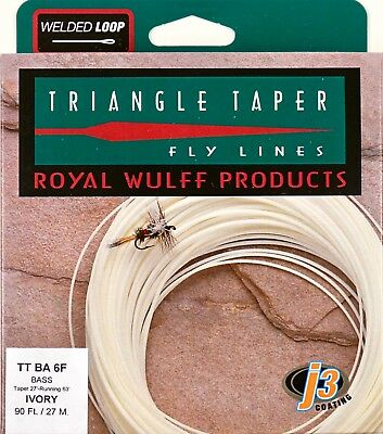 Royal Wulff Bass Triangle Taper 8 WT Fly Line Ivory Free Fast Shipping TTBA8F
