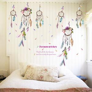 Fashion-Dream-Catcher-Feathers-Wall-Sticker-Mural-Art-Vinyl-Decals-Home-Decor-FO