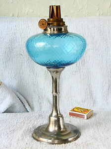 ANTIQUE FRENCH Art Deco KEROSENE OIL LAMP BLUE GLASS EBay