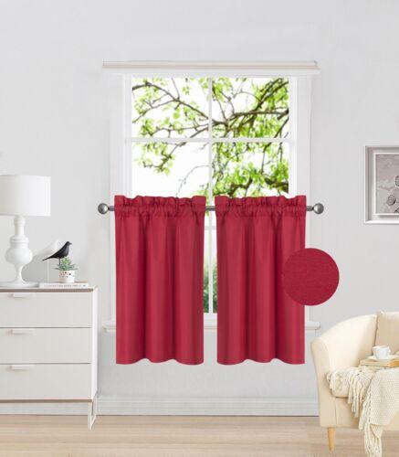"1 Pair Rod Pocket Faux Silk Window Curtain Blackout Light Blocker 30/""x36/"" RS5"