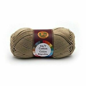 Pack of 3 skeins Taupe Lion Brand Yarn 761-122 24-7 Cotton Yarn
