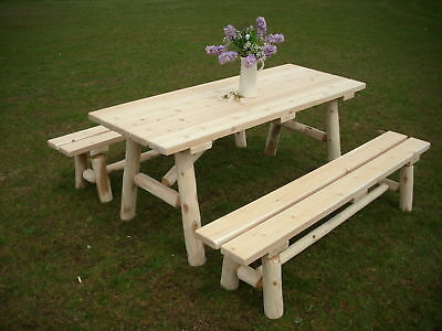 Wondrous Rustic White Cedar Log 8 Foot Picnic Table With Detached Benches Amish Made Usa 689407397205 Ebay Machost Co Dining Chair Design Ideas Machostcouk