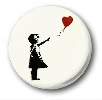 BANKSY GIRL BALLOON  - 1 inch / 25mm Button Badge -  Bristol Street Heart