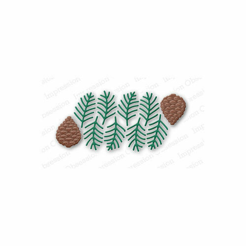 suitable for most die cutters 097M PINE SPRIG CLUSTER DIE-Impression Obsession