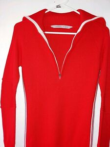 Athleta-Women-039-s-Sweater-Skiline-Xtra-Smal-Fire-Red-Breathable-Poly-wool-halfzip
