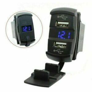 Auto-Boot-Dual-USB-Ladegeraet-Schalttafel-Schalter-Steckdose-Voltmeter-Blau-LED