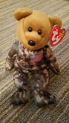 MWMTs w// US Flag on Arm HERO the USO Military Bear TY Beanie Baby 8.5 inch