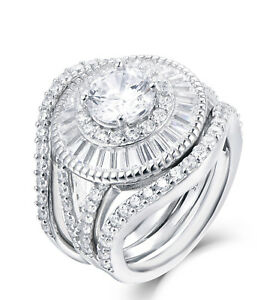 3PC Sterling Silver Cz Halo Big Wedding Band Engagement Ring Set
