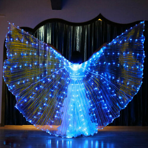HOT LED Isis Wings Belly Dance Cosplay Glow Show Light Up Costume Include Sticks