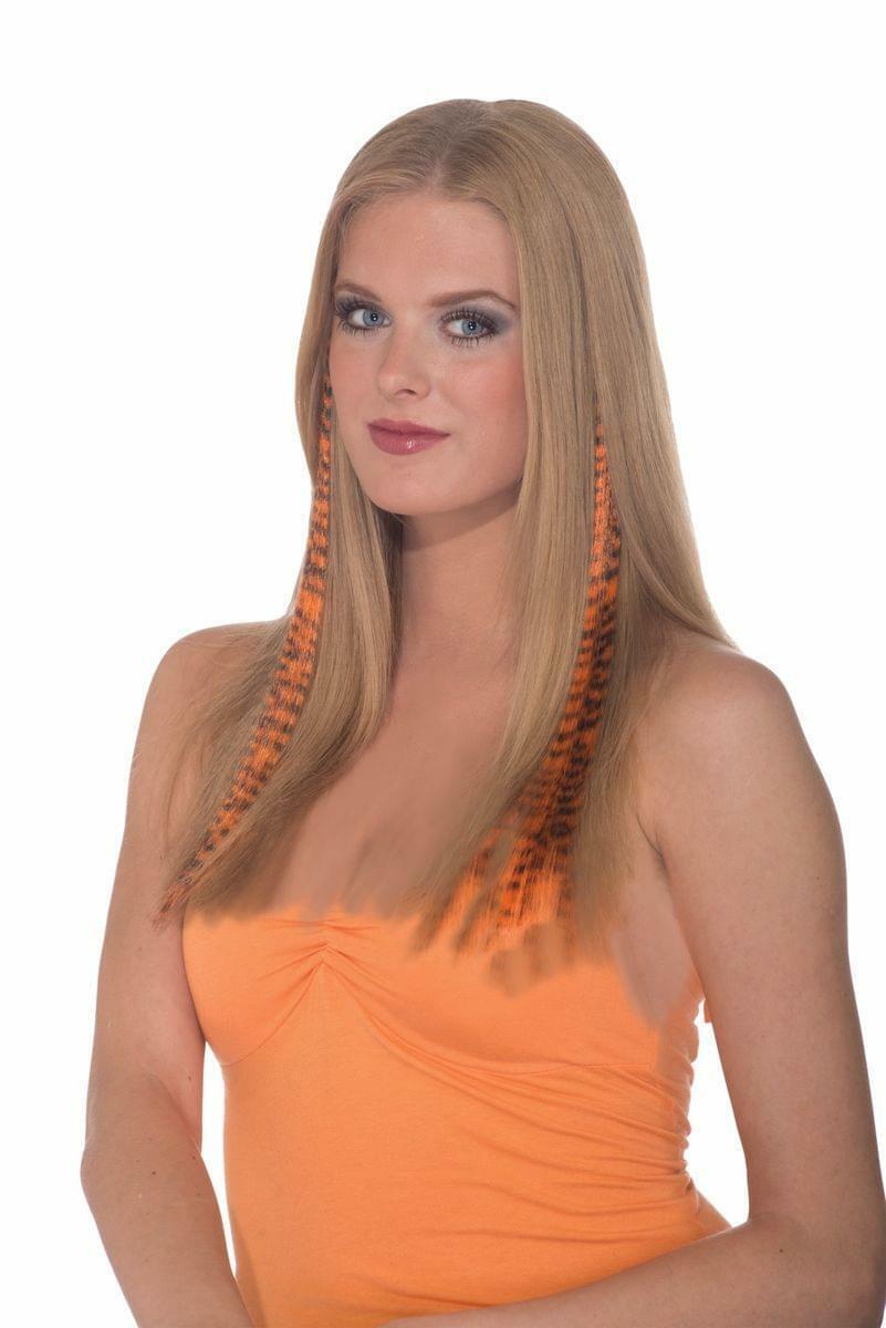 2-Piece Costume Hair Extensions: Black & Orange Tiger Stripe One Size