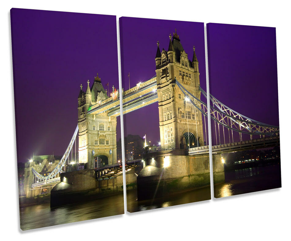 Tower Bridge London Viola TREBLE TELA Wall Art Box incorniciato incorniciato incorniciato stampa 017724