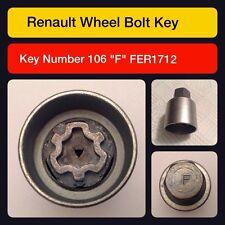 Original Renault sperrende radmutter/master schlüssel code 106 Buchstabe F