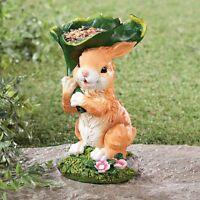 Bunny With Leaf Statue Outdoor Garden Statue Birdfeeder