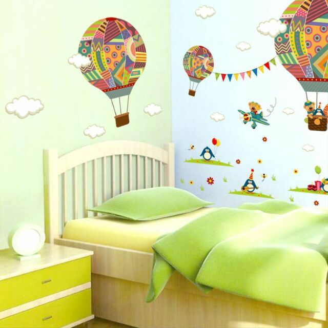 Air Balloon Penguin Bear Cartoon Mural Decal Baby Bedroom Wall Stickers o