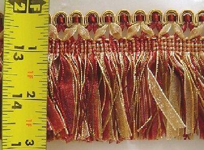 "2.75"" Brush Fringe  Cranberry Red Yellow Gold Olive Green Match Tassel Fringe"