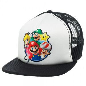 NEW-Nintendo-SUPER-MARIO-BROS-SNAPBACK-HAT-Men-039-s-Mesh-Trucker-Cap-Wii-Game-Era
