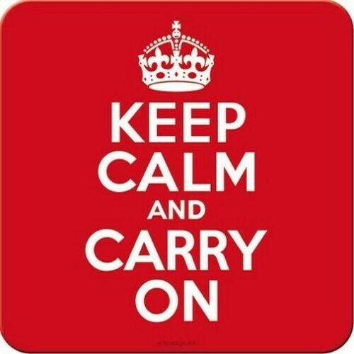 Keep Calm and Carry On Blech Untersetzer 9 x 9 cm Metall Tin Sign USE01