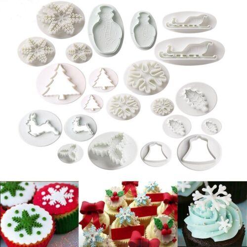 22Pcs//Set Christmas Cookie Cutters Biscuit Fondant Plunger Cake Decor Mold Mould