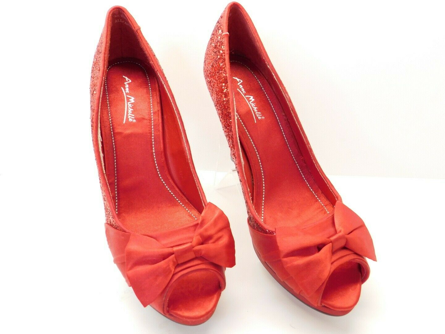 Glittery & Satin Bow Red Anna Michelle Shoes Size 9