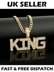 King-Gold-Necklace-Gangsta-Hip-Hop-Bling-Diamonte-Ice-Iced-Out-Rapper-Rhinestone