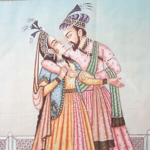 Indian School Mughal Musicals & Maharani dipinto ANTICO RITRATTO SU SETA