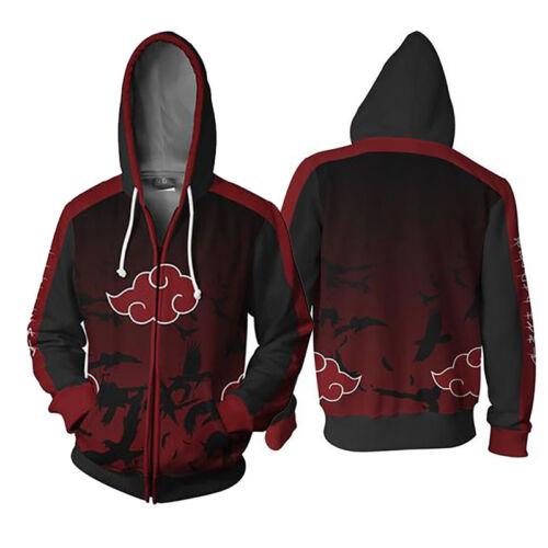 Naruto0 Cosplay Costume Akatsuki Uchiha Itachi Zipper Jacket Hoodies Sweatshirt