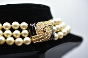 Vintage-Signed-Ciner-Necklace-Crystal-Rhinestone-Layered-Pearl-Gold-Black-BinA