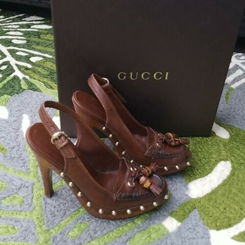 Gucci brown leather platform loafers size 36 (6)
