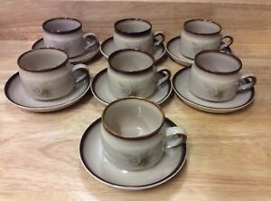 Image is loading VINTAGE-SET-OF-7-DENBY-MEMORIES-PATTERN-TEA- & VINTAGE SET OF 7 DENBY MEMORIES PATTERN TEA CUPS AND SAUCERS | eBay