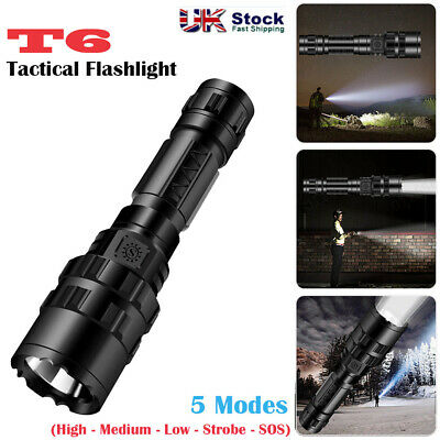 50000LM LED Flashlight Elfeland T6 Tactical Military Torch Zoomable 5-Modes Lamp