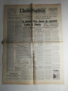 N417-La-Une-Du-Journal-L-039-information-15-mai-1958-le-general-salan-l-039-ordre-Alger