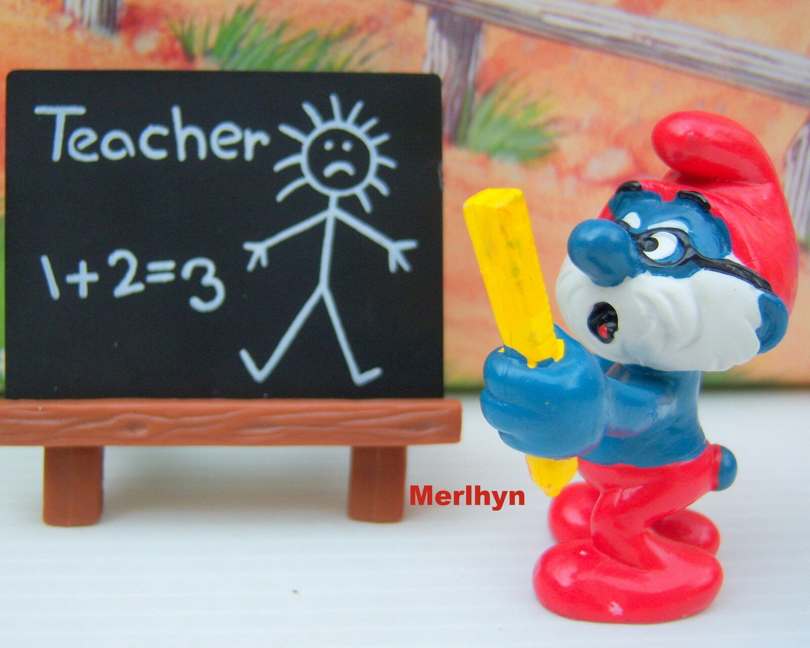 40224 Schtroumpf tableau ecole teacher smurf school puffo puffi pitufo raris.HK