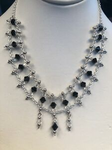 Vintage Delicate Silver Black And Clear Glass  Crystal Drop Pendant Necklace