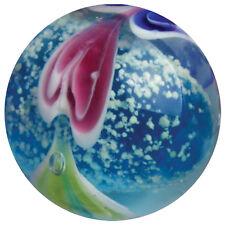 """22mm WAVE BREAKER Blue Hearts GLOW IN THE DARK Handmade art glass Marble 7/8"""""""