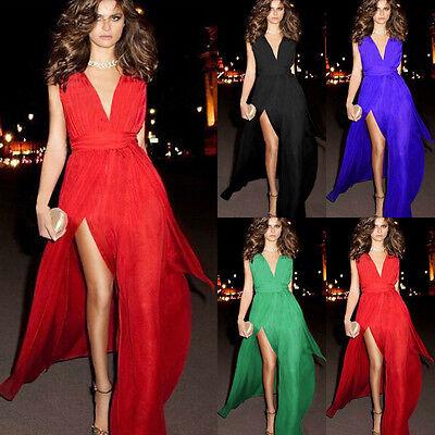 Stylish Lady Chiffon Split Bandage Cocktail Party Long Dress Formal Evening Gown