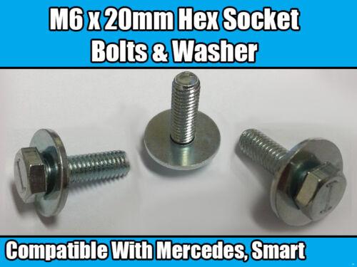 5x M6 x 20mm Hex Socket Bolts For Mercedes Benz Smart /& Washer Metal Hexagonal