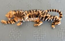 3 inch Black & gold Tone Tiger pin with rhinestone underbelly & Eye