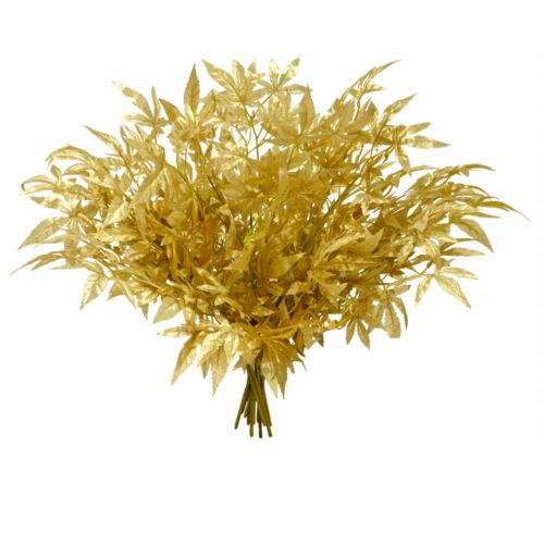 Kunstzweig Zweig Künstlicher Ahornzweig Gold 65 cm 12 Stück Dekoration Decovego