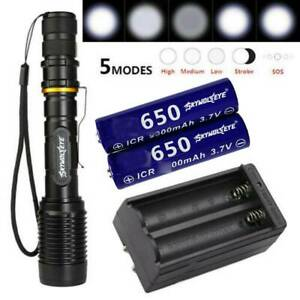Tactical 990000LM Zoomable Police LED High Powered Flashlight 186*50 Torch US