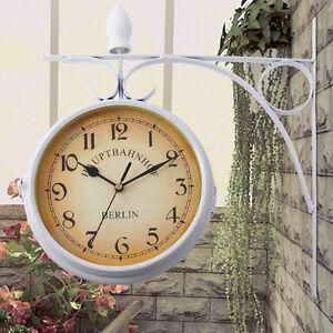 Retro-Horloge-Pendule-Hotel-de-Restaurant-de-Mur-Accrochant-Analogue-Double-Face