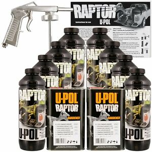 U-POL-Raptor-Black-Truck-Bed-Liner-Kit-w-Spray-Gun-8L-2-Box-Upol