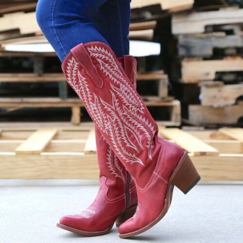 Women Knee High Cowgirl Cowboy Boots Mid Wide Calf Block Low Heel Shoes Size 3-8
