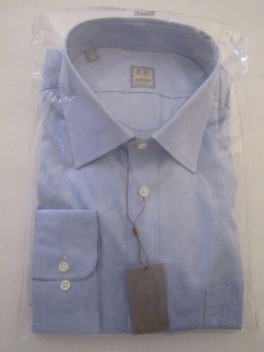 $225 GOLD LABEL Ike Behar New York Solid Blue Dress Shirt 17 1//2 34-35 Luxury