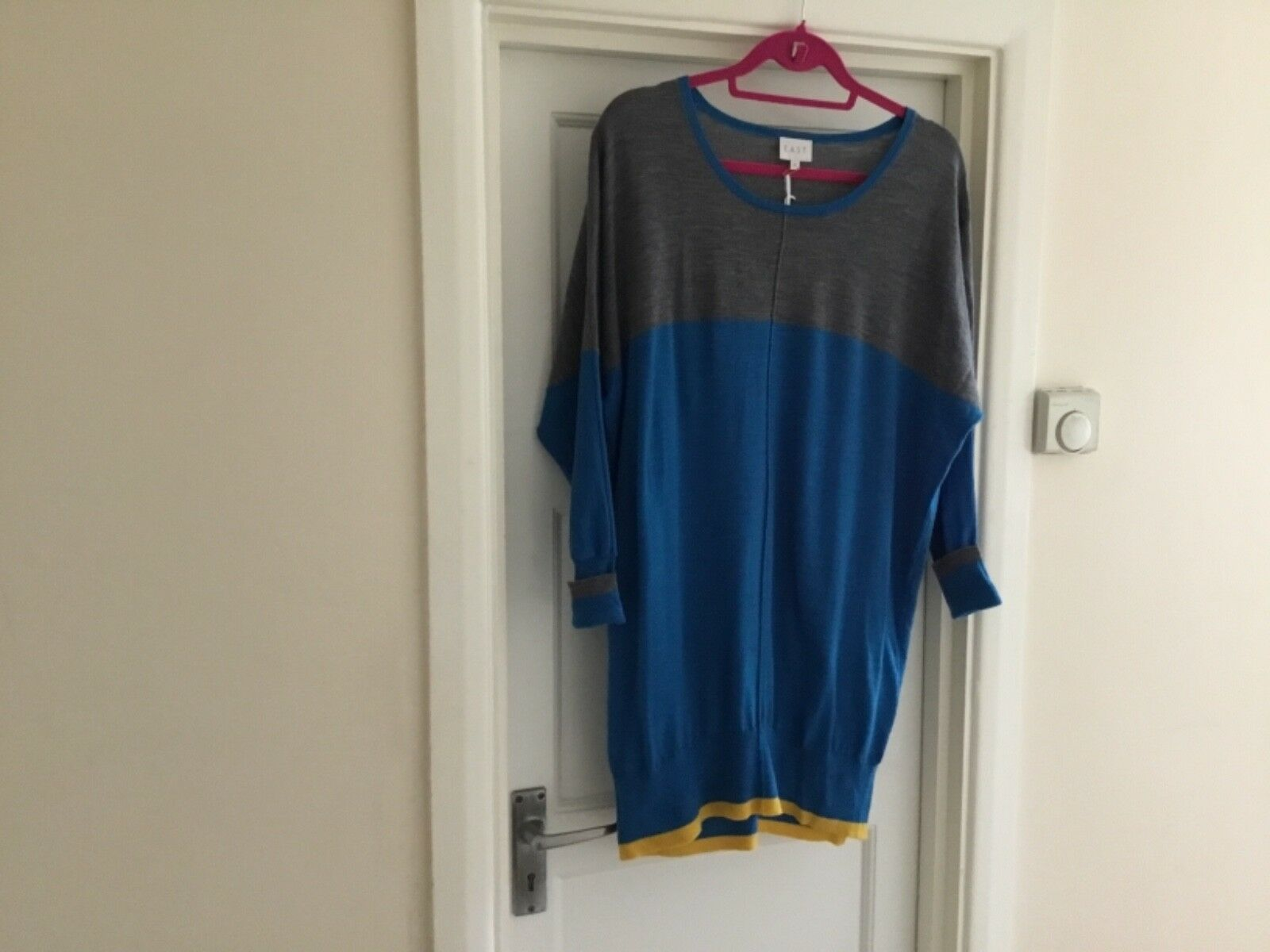 East John Lewis long grey and bluee tunic style jumper with yellow trim on hem. M